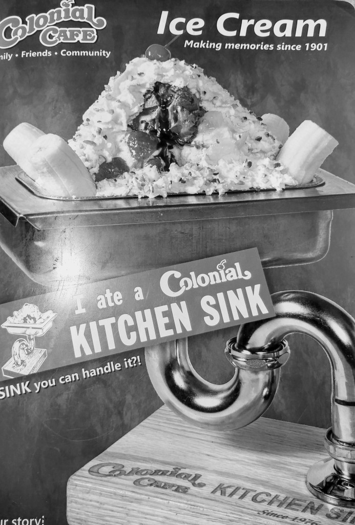 Colonial-Cafe-kitchen-sink-ice-cream-sundae-black-and-white