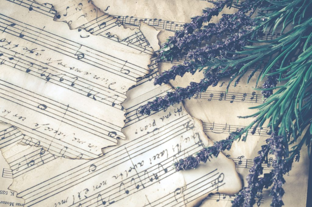 distressed edge sheet music and lavender