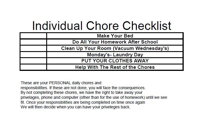 Chore Checklist spreadsheet and rules