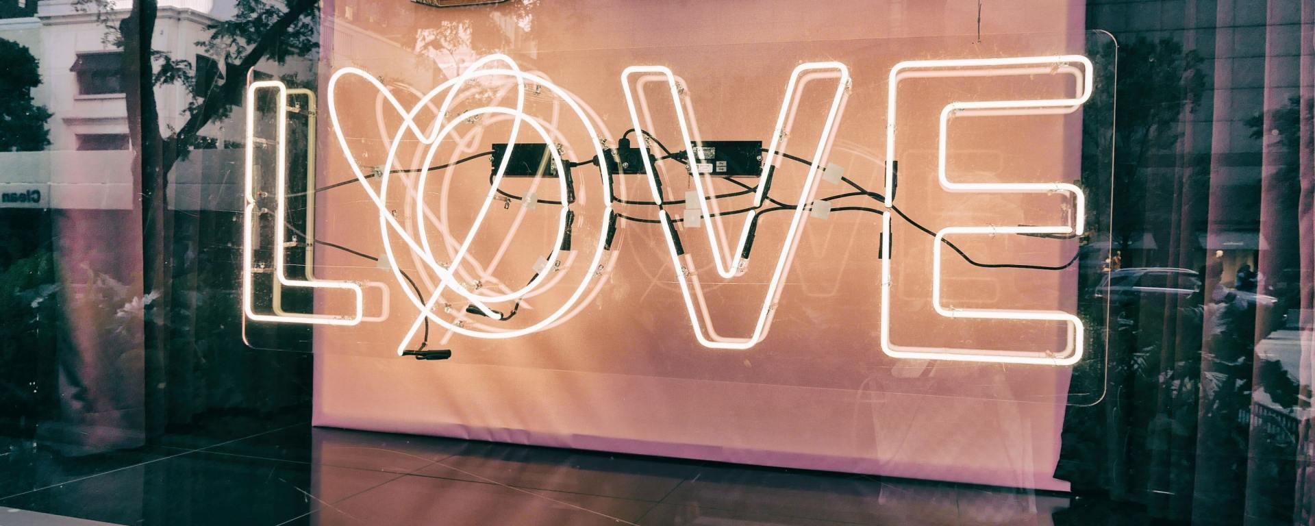 Love neon light in window