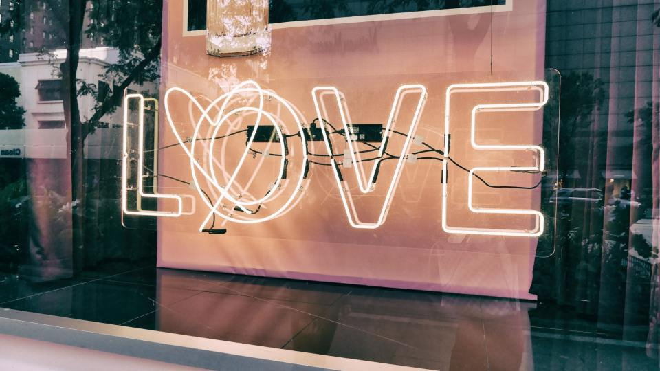 Love neon light in window